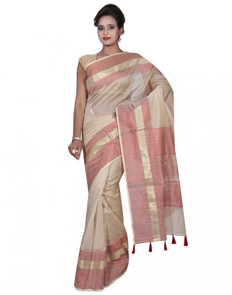 Buy Banarasi Silk Works Party Wear Designer Cream Colour Cotton Saree For Women's(bsw33) online