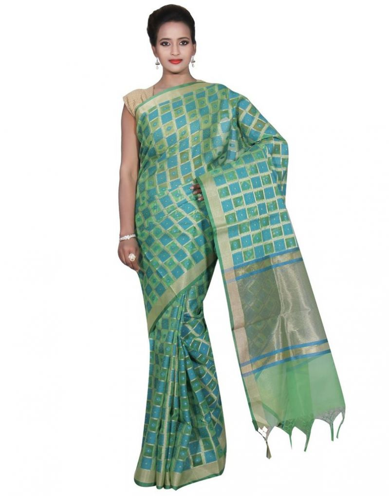 Buy Banarasi Silk Works Party Wear Designer Green Colour Cotton Saree For Women's(bsw34) online