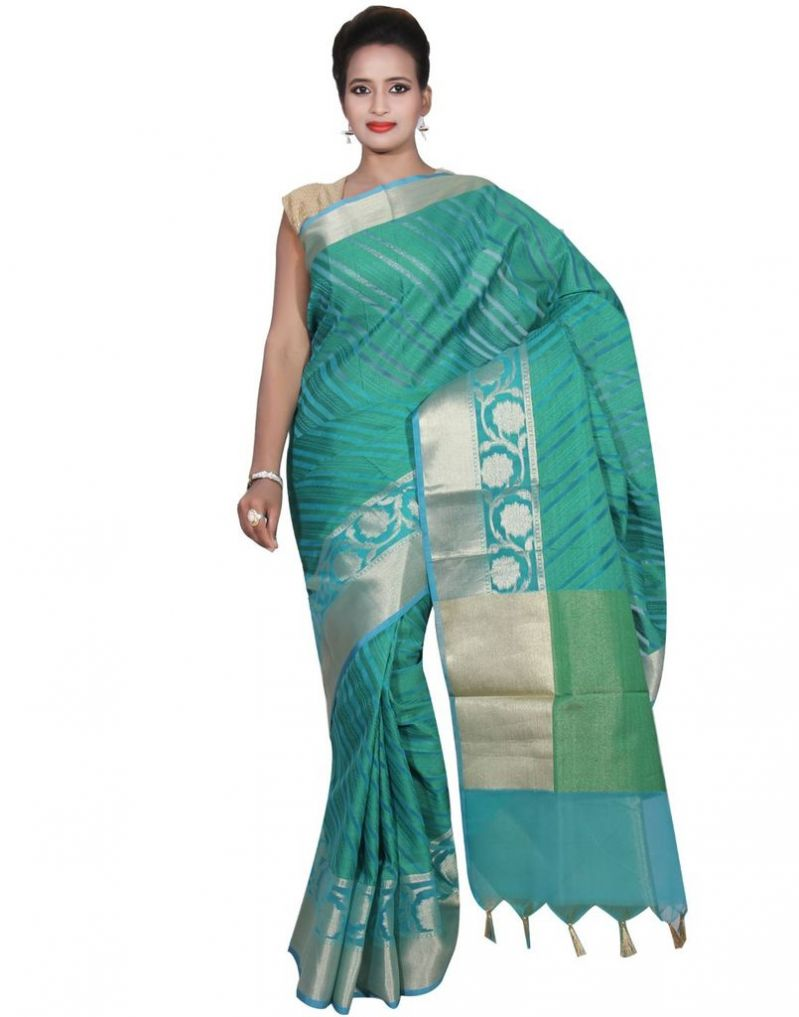 Buy Banarasi Silk Works Party Wear Designer Green Colour Cotton Saree For Women's(bsw36) online
