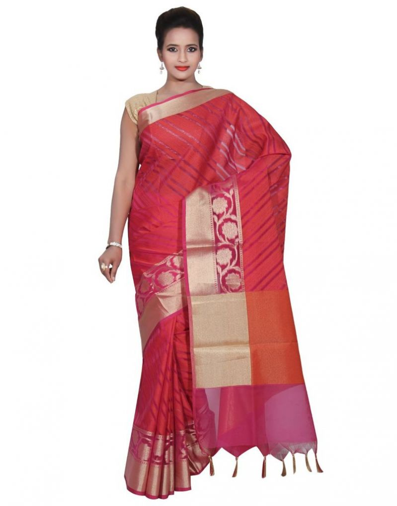 Buy Banarasi Silk Works Party Wear Designer Pink Colour Cotton Saree For Women's(bsw37) online