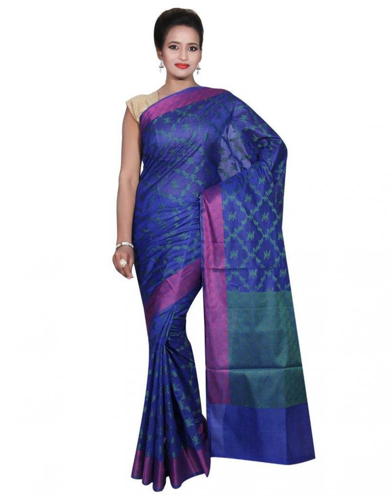 Buy Banarasi Silk Works Party Wear Designer Blue Colour Cotton Saree For Women's(bsw38) online