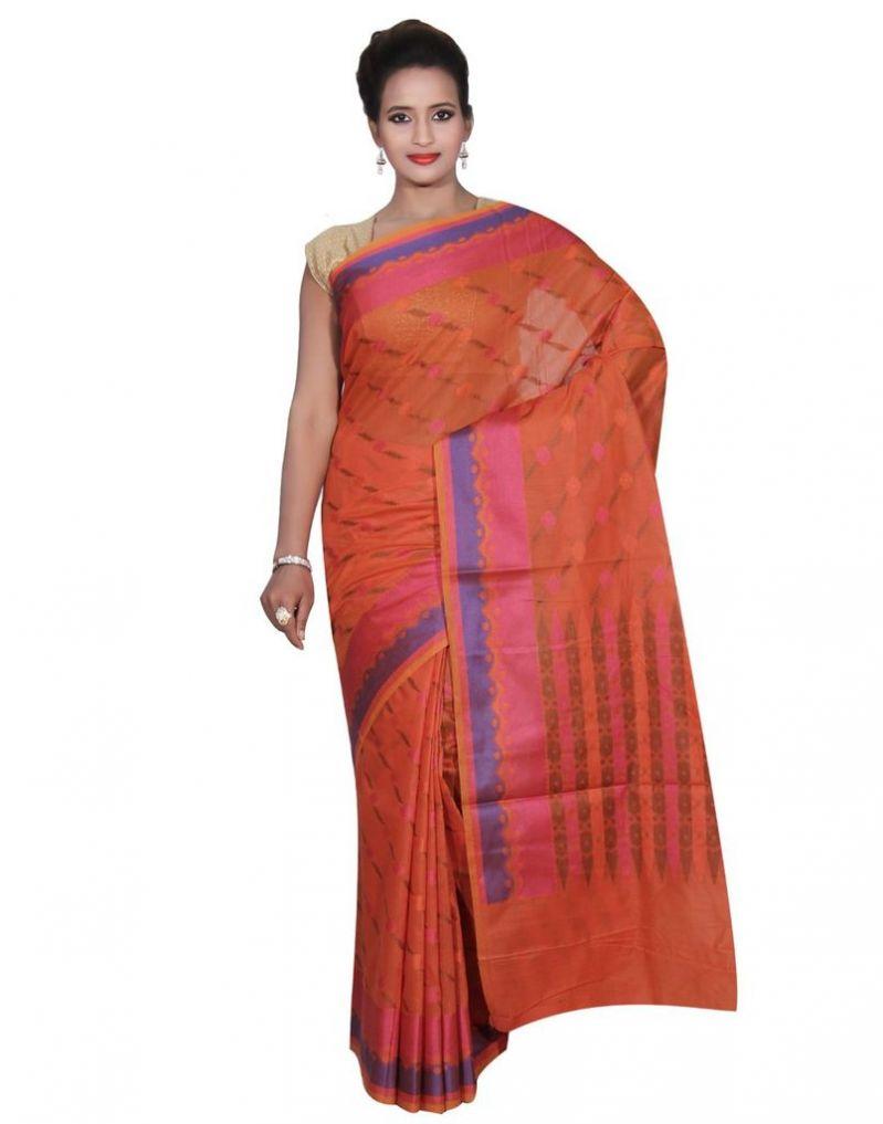 Buy Banarasi Silk Works Party Wear Designer Orange Colour Cotton Saree For Women's(bsw44) online