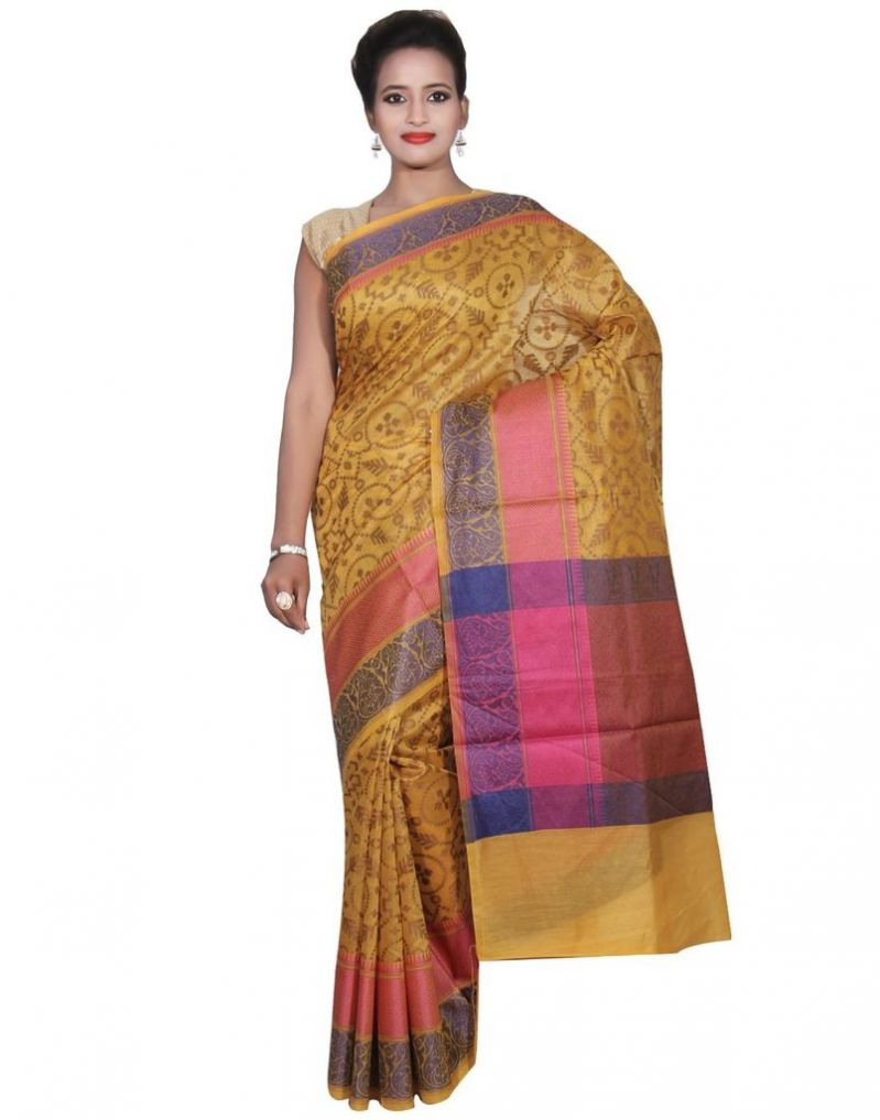 Buy Banarasi Silk Works Party Wear Designer Gold Colour Cotton Saree For Women's(bsw45) online