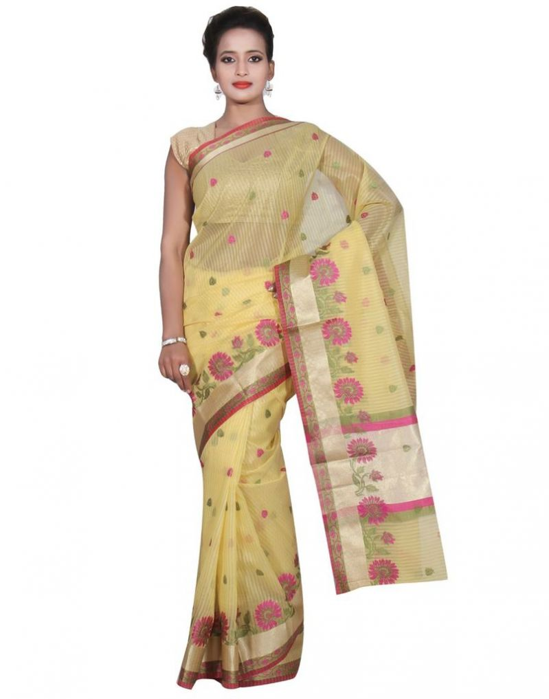 Buy Banarasi Silk Works Party Wear Designer Yellow Colour Super Net Saree For Women's(bsw51) online
