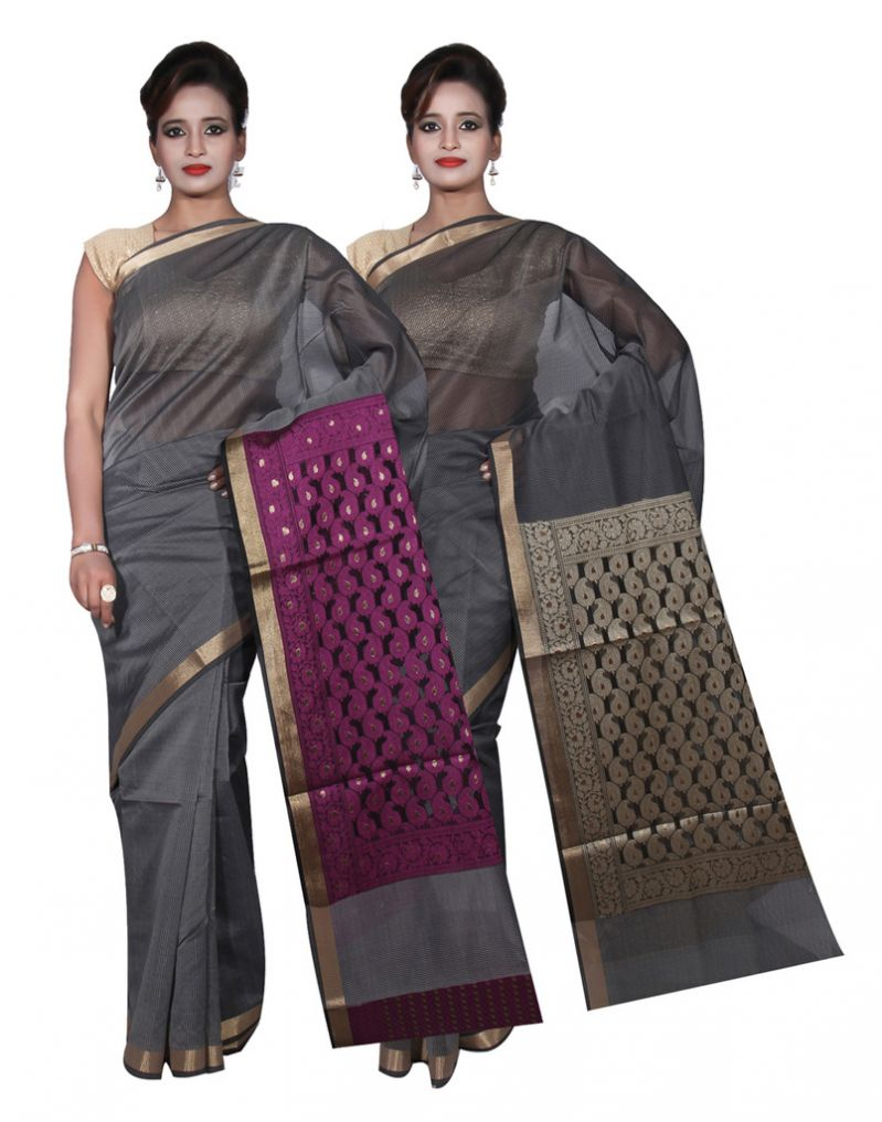 Buy Banarasi Silk Works Party Wear Designer Grey & Grey Colour Cotton Combo Saree For Women's(bsw1_2) online