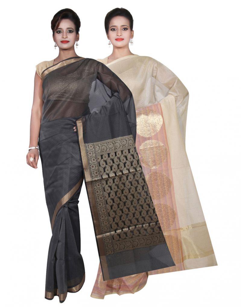 Buy Banarasi Silk Works Party Wear Designer Grey & Cream Colour Cotton Combo Saree For Women's(bsw1_3) online