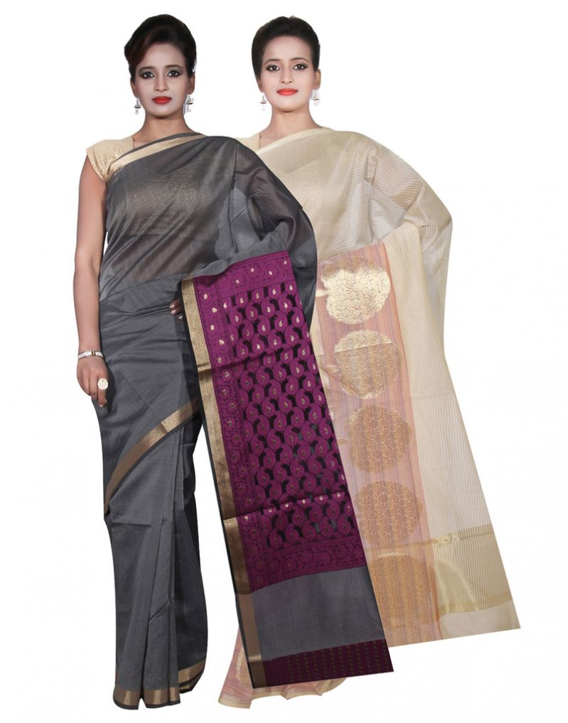 Buy Banarasi Silk Works Party Wear Designer Grey & Cream Colour Cotton Combo Saree For Women's(bsw2_3) online