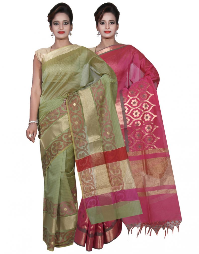 Buy Banarasi Silk Works Party Wear Designer Pink & Green Colour Cotton Combo Saree For Women's(bsw7_9) online