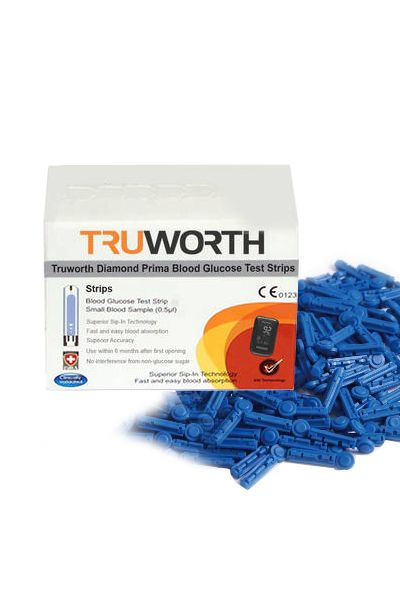 Buy Truworth Diamond Prima Black Test Strips Combo 50 + 25 Free Lancets online