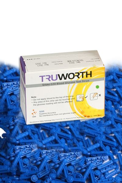 Buy Truworth G-30 French Green Test Strips Combo 50 + 50 Free Lancets online