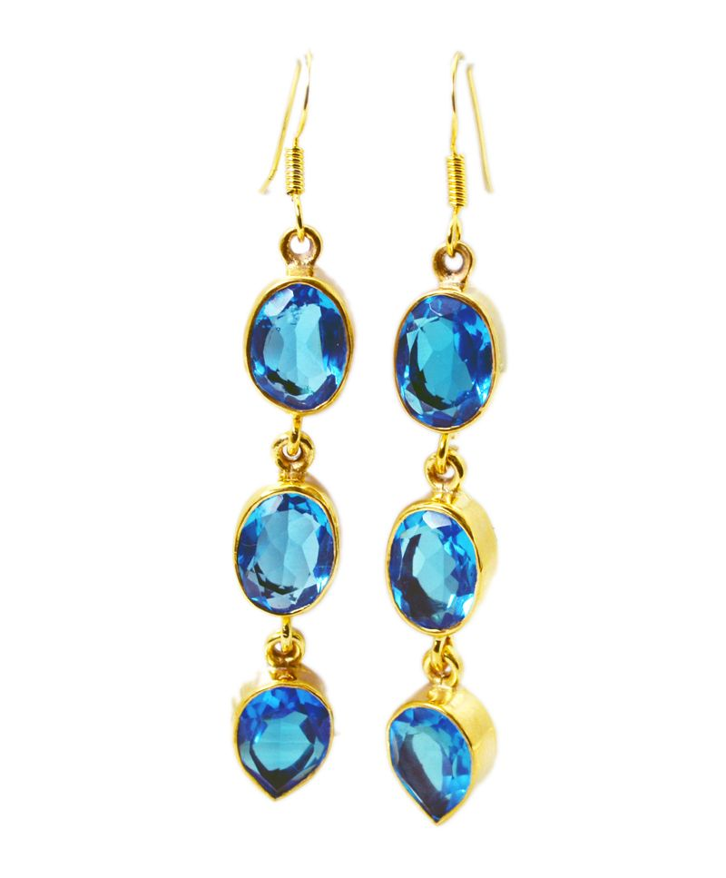 Buy Riyo Blue Topaz Cz 18 Kt Y.g. Plated Dangling Earring L 2.5in Gpebtcz-92014) online