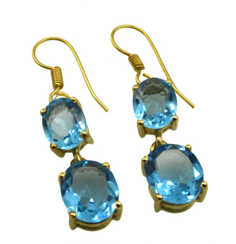 Buy Riyo A Blue Topaz Cz 18kt Gold Plated Timeless Earring L 1.5in Gpebtcz-92021) online