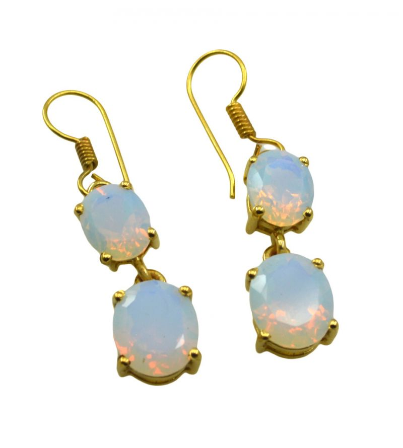 Buy Riyo White Fire Opal Cz 18kt Gold Plated Toe Earring L 1.5in Gpefocz-98002) online