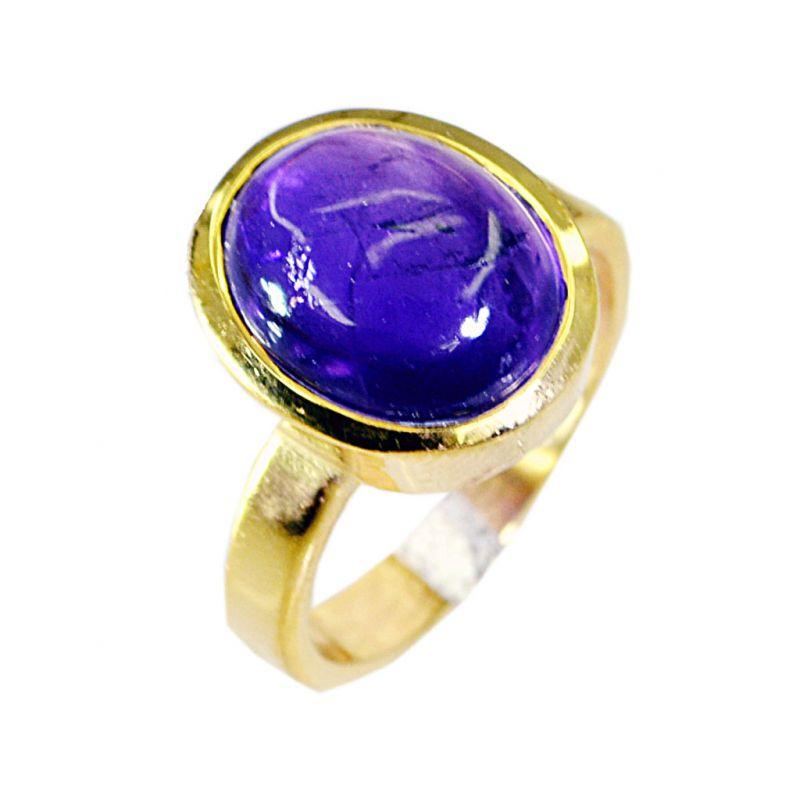 Buy Riyo Amethyst 18-kt Gold Plated Sports Ring Sz 5.5 Gprame5.5-2002 online