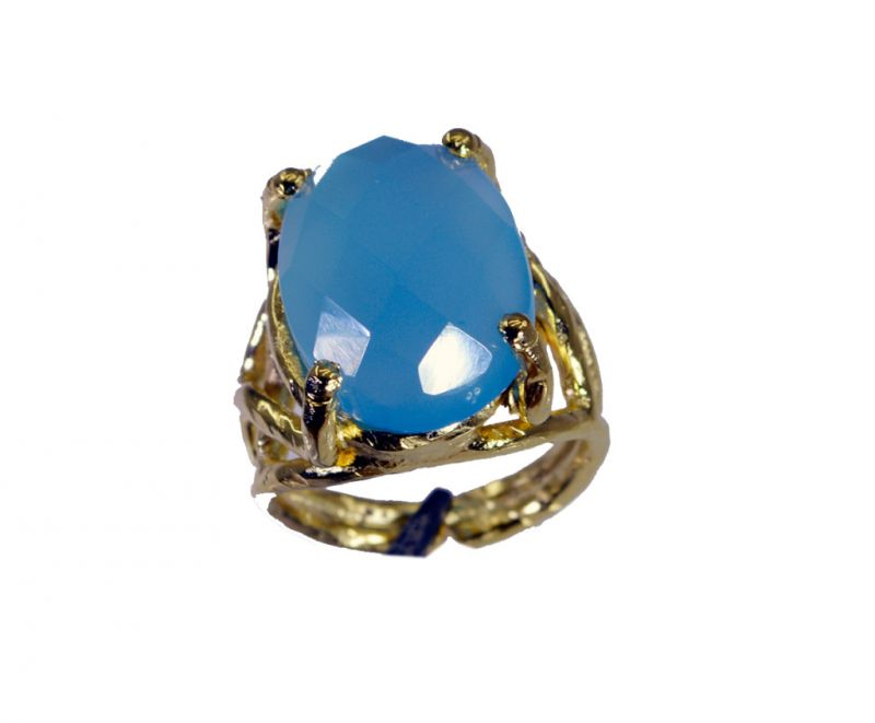 Buy Riyo Blue Chalcedony Base Matel Claddagh Ring Sz 6 Gprbch6-8053 online