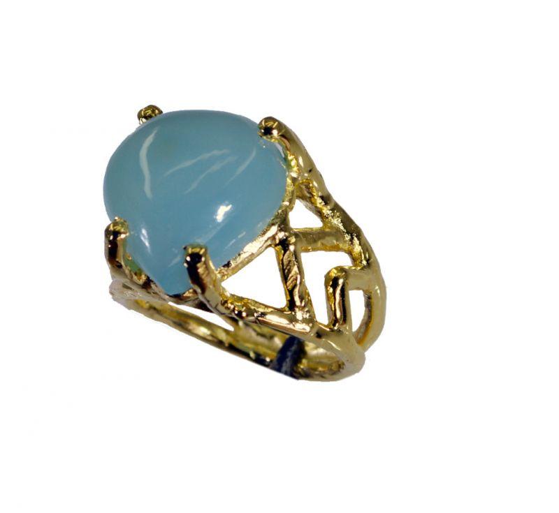 Buy Riyo Blue Chalcedony 18-kt Y Gold Plated Ecclesiastical Ring Sz 6 Gprbch6-8056 online