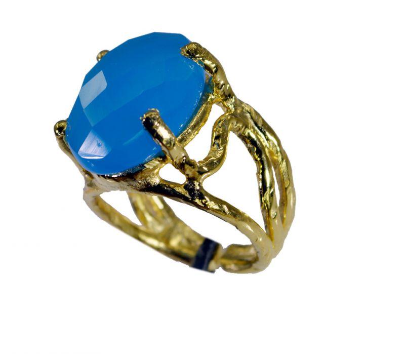 Buy Riyo Blue Chalcedony 18k Y Gold Plate Aqiq Ring Sz 7 Gprbch7-8052 online