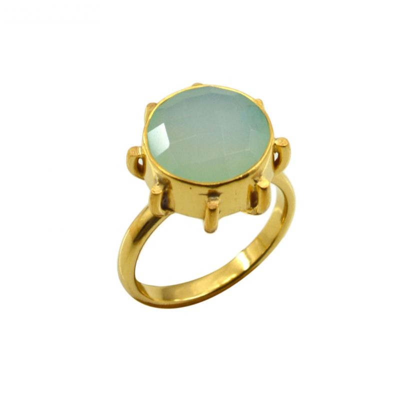 Buy Riyo A Blue Chalcedony 18kt Gold Plated Gorgeous Ring Gprbch70-8078 online