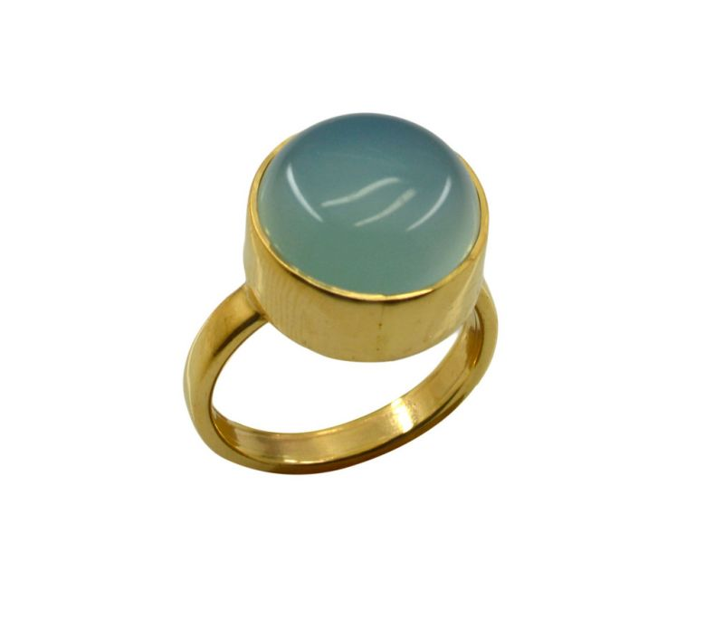 Buy Riyo A Blue Chalcedony 18kt Gold Plated Gorgeous Ring Gprbch75-8076 online