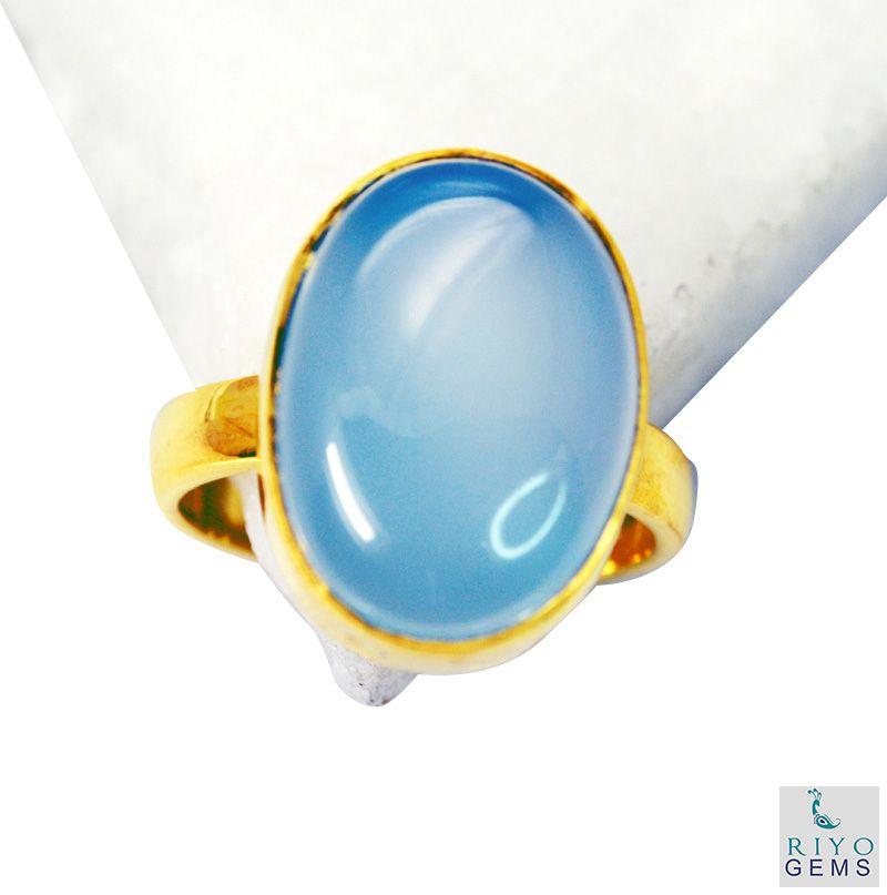 Buy Riyo Blue Chalcedony Rhodium Plate Finger Armor Ring Sz 8 Gprbch8-8035 online