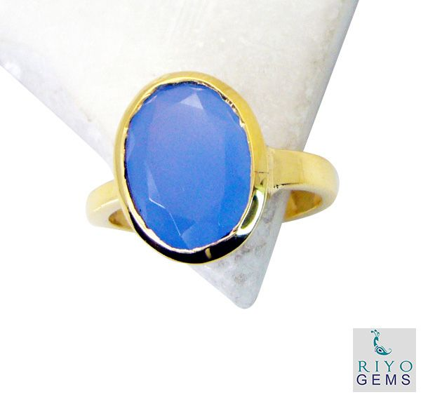 Buy Riyo Blue Chalcedony 18.kt Y Gold Plated Promise Ring Sz 8 Gprbch8-8038 online