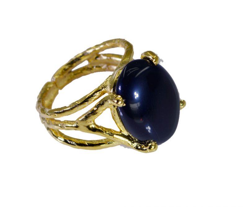 Buy Riyo Black Onyx 18 Ct Ygold Plating Beautiful Ring Sz 7.5 Gprbon7.5-6078 online