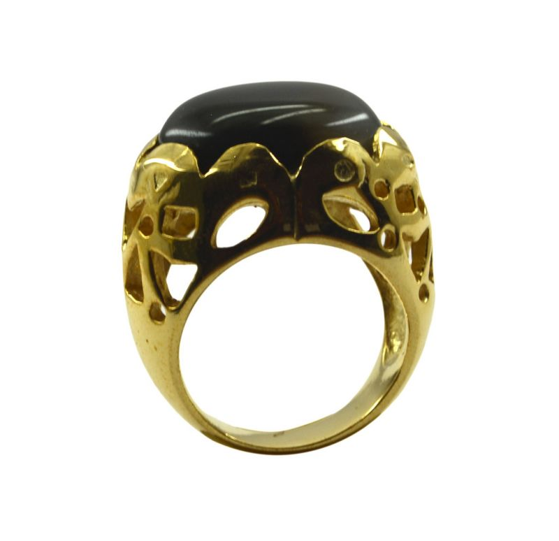 Buy Riyo A Black Onyx 18kt Gold Plated Lightweight Ring Gprbon75-6086 online