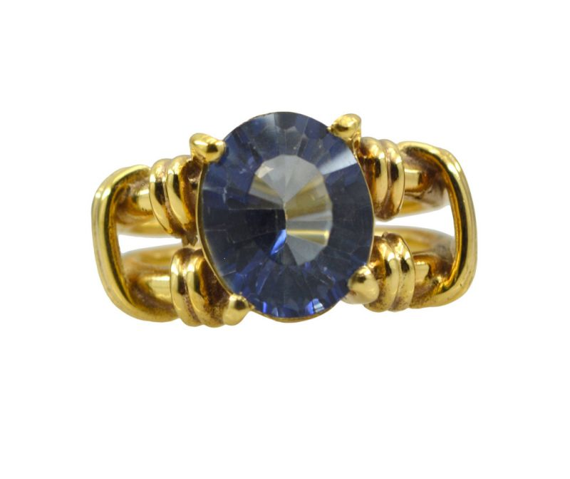 Buy Riyo A Blue Saphire Cz 18kt Gold Plated Masculine Ring Gprbscz60-90020 online