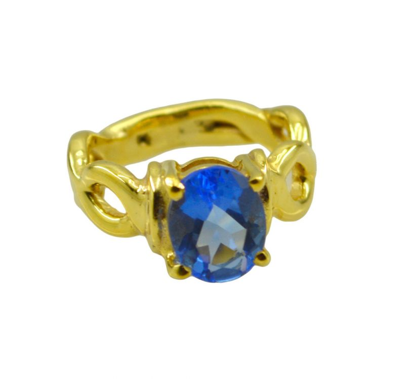 Buy Riyo A Blue Saphire Cz 18kt Gold Plated Premium Grade Ring Gprbscz70-90027 online