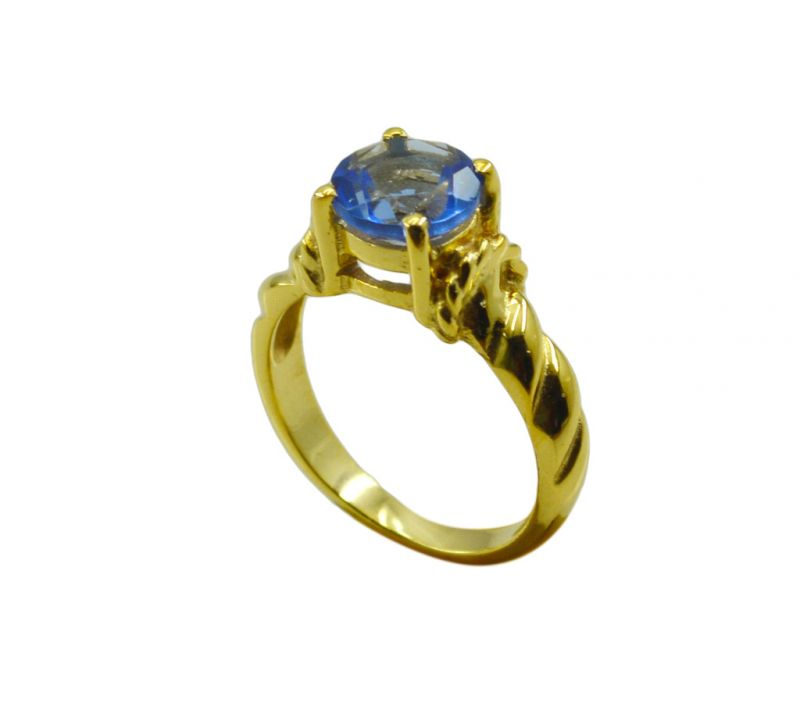 Buy Riyo A Blue Saphire Cz 18kt Gold Plated Prismatic Ring Gprbscz70-90031 online