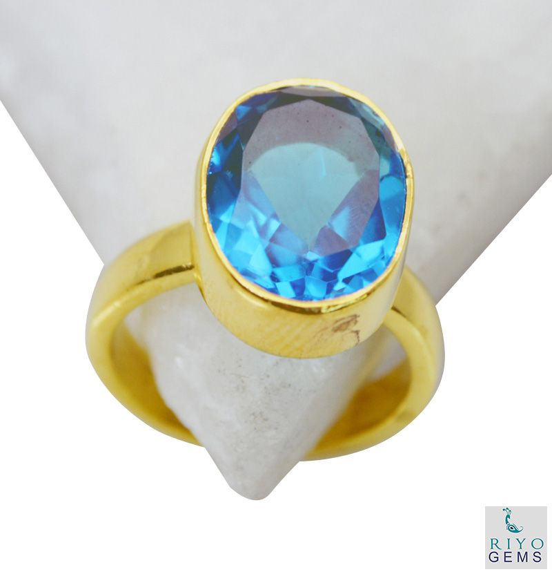 Buy Riyo Blue Topaz Cz Gold Plated Jewelry Wedding Bands Sz 5 Gprbtcz5-92040 online