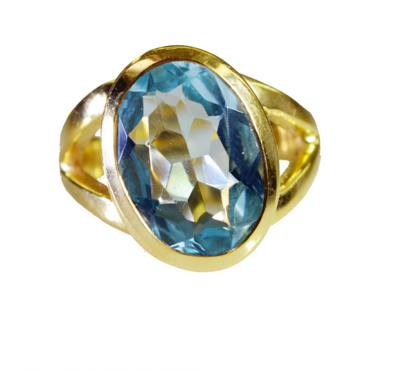 Buy Riyo Blue Topaz Cz Gold Plated Set Ring Sz 6 Gprbtcz6-92054 online