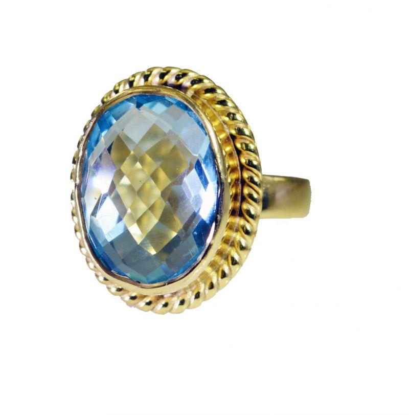 Buy Riyo Blue Topaz Cz Gold Plated Sets Nice Ring Sz 6 Gprbtcz6-92055 online