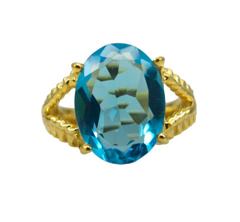 Buy Riyo A Blue Topaz Cz 18kt Gold Plated Simple Ring Gprbtcz60-92099 online