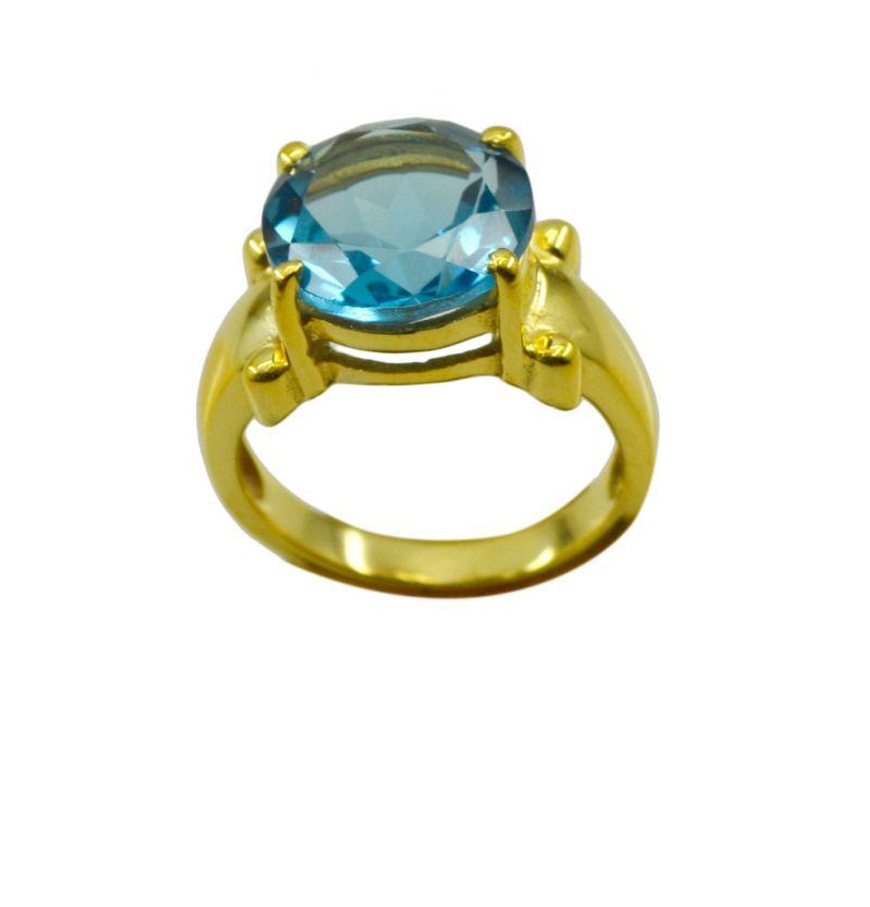 Buy Riyo A Blue Topaz Cz 18kt Gold Plated Slender Ring Gprbtcz60-92105 online