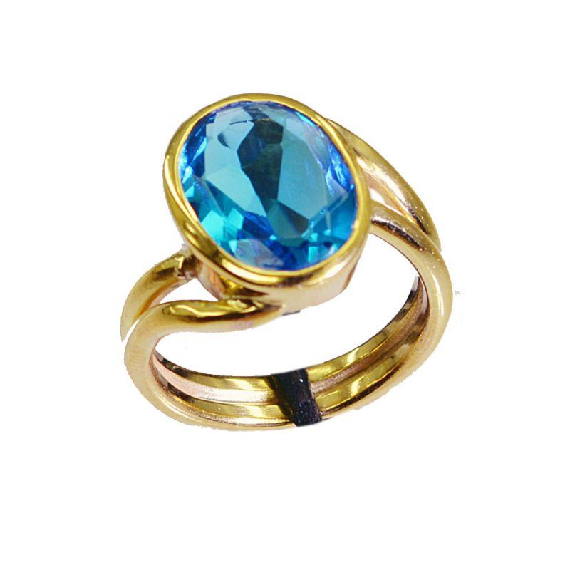 Buy Riyo Blue Topaz Cz 18c Ygold Plating Eternity Ring Sz 6.5 Gprbtcz6.5-92010 online