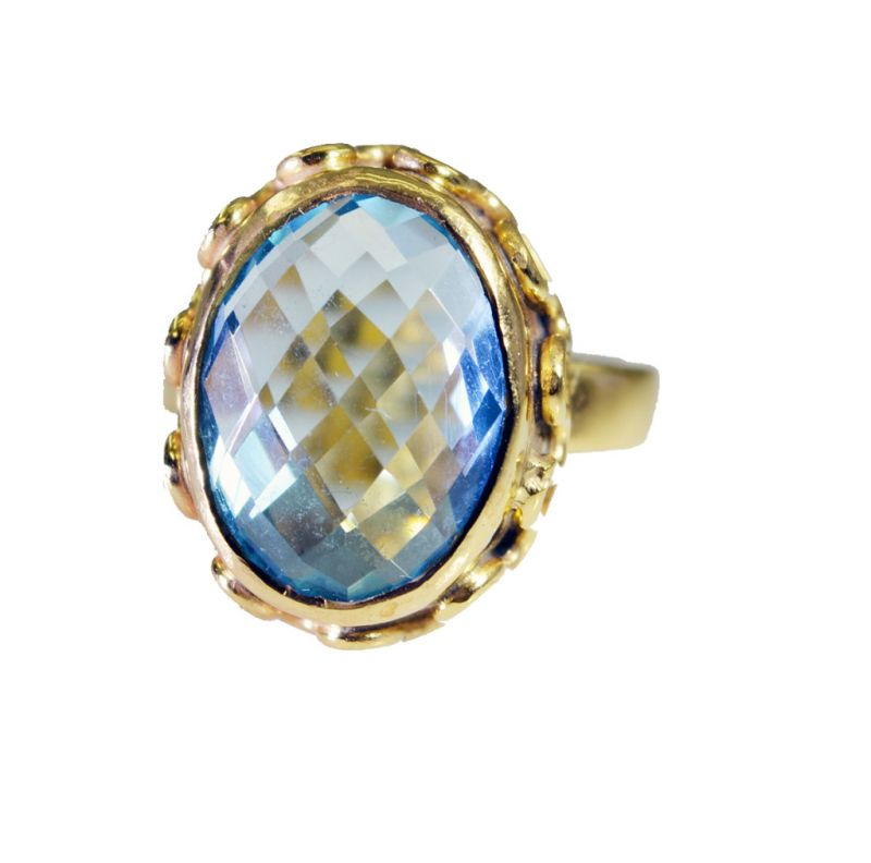 Buy Riyo Blue Topaz Cz Gold Plated Wholesale Aqiq Ring Sz 6.5 Gprbtcz6.5-92056 online