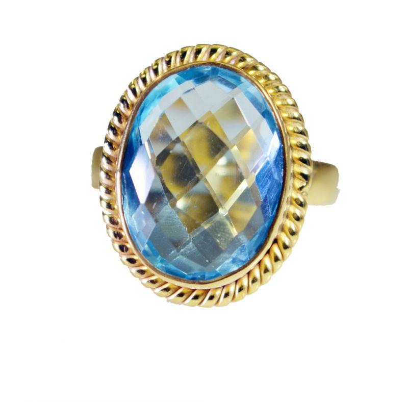 Buy Riyo Blue Topaz Cz Gold Plate Jewellery Claddagh Ring Sz 6.5 Gprbtcz6.5-92057 online