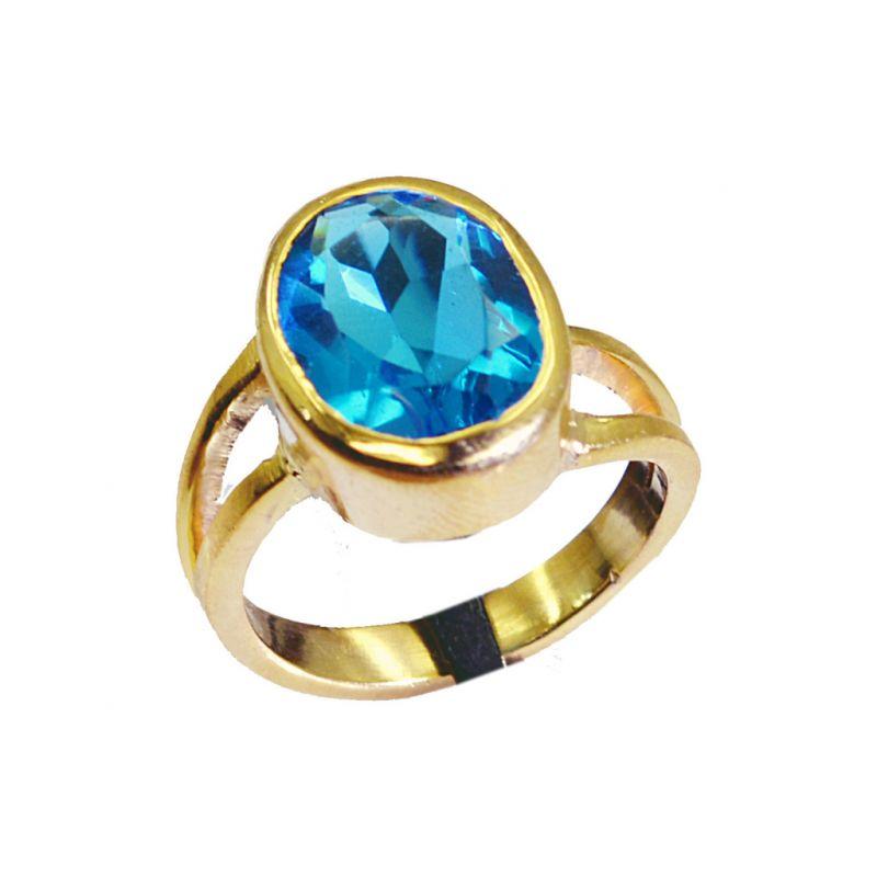 Buy Riyo Blue Topaz Cz 18k Y Gold Plate Promise Ring Sz 7 Gprbtcz7-92012 online
