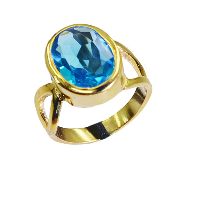 Buy Riyo Blue Topaz Cz 18kt Gold Plating Purity Ring Jewelry Sz 7 Gprbtcz7-92013 online