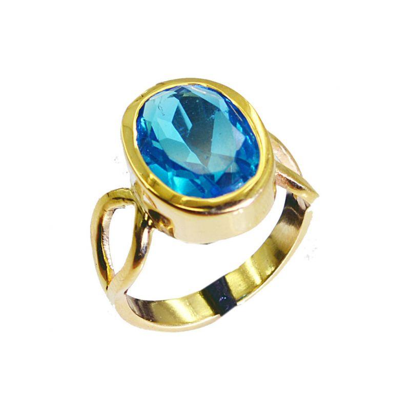 Buy Riyo Blue Topaz Cz 18 Kt Y.g. Plated Mourning Ring Sz 7 Gprbtcz7-92014 online