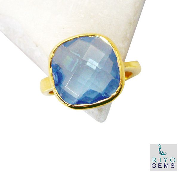 Buy Riyo Blue Topaz Cz Wholesale Gold Plate Mourning Ring Sz 7 Gprbtcz7-92047 online