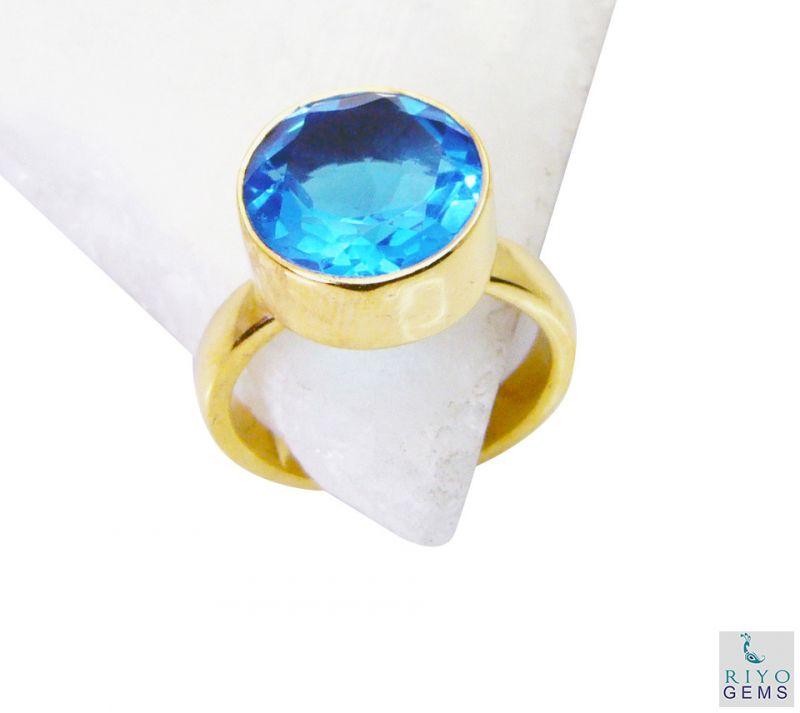 Buy Riyo Blue Topaz Cz Gold Plated Jewellery Bridal Rings Sz 7 Gprbtcz7-92049 online