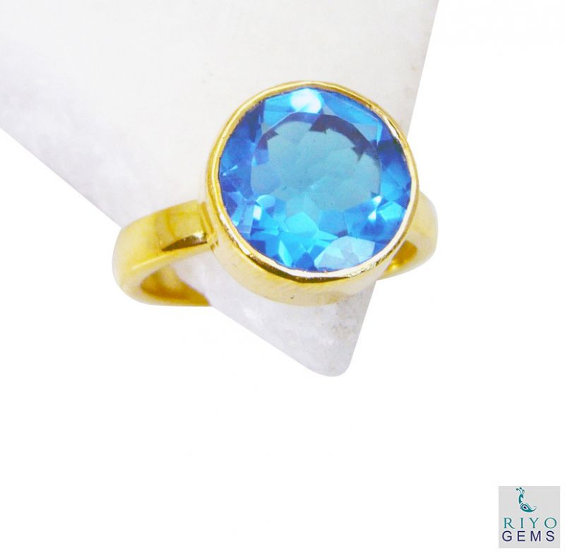 Buy Riyo Blue Topaz Cz Gold Plated Designs Cocktail Ring Sz 7 Gprbtcz7-92050 online