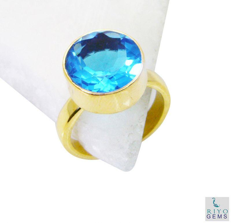 Buy Riyo Blue Topaz Cz Gold Plated India Mori Ring Sz 7 Gprbtcz7-92051 online