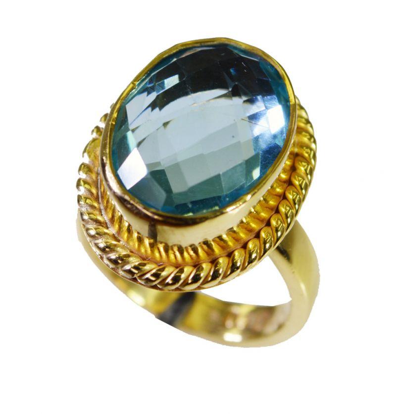 Buy Riyo Blue Topaz Cz Jewellery Gold Plated Class Ring Sz 7 Gprbtcz7-92058 online