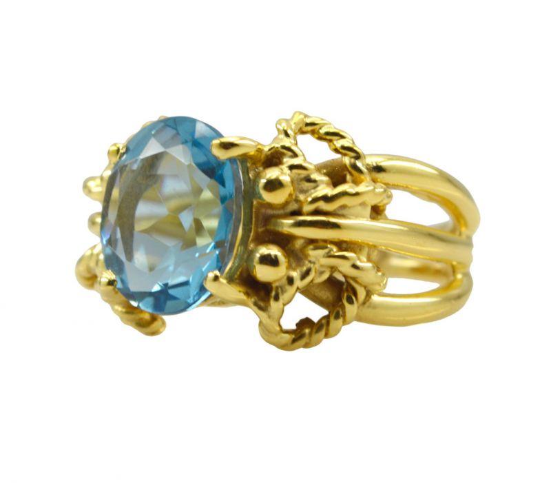 Buy Riyo A Blue Topaz Cz 18kt Gold Plated Snag Free Ring Gprbtcz70-92097 online