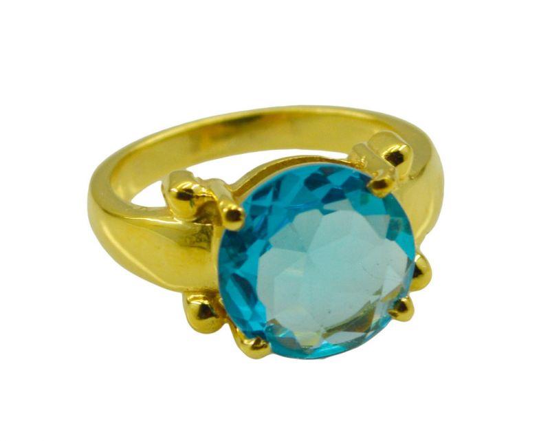 Buy Riyo A Blue Topaz Cz 18kt Gold Plated Sparkling Ring Gprbtcz70-92103 online