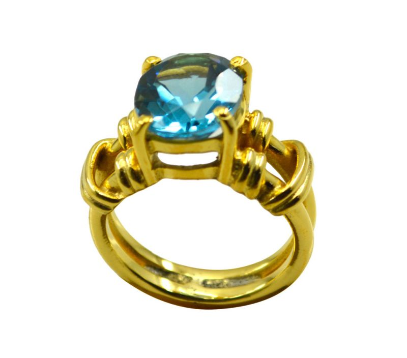 Buy Riyo A Blue Topaz Cz 18kt Gold Plated Sparkly Ring Gprbtcz70-92107 online