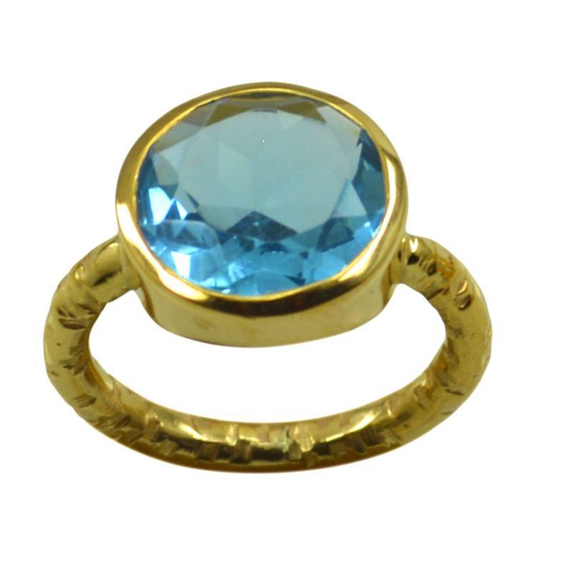 Buy Riyo A Blue Topaz Cz 18kt Gold Plated Stylish Ring Gprbtcz70-92135 online